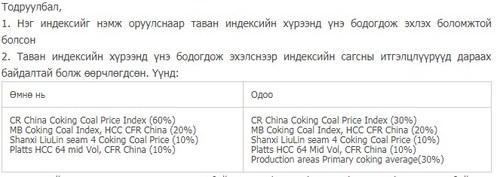 60 ам.доллар байгаа нүүрсний үнийг 61.35 ам.долларт хүргэх санал явууллаа
